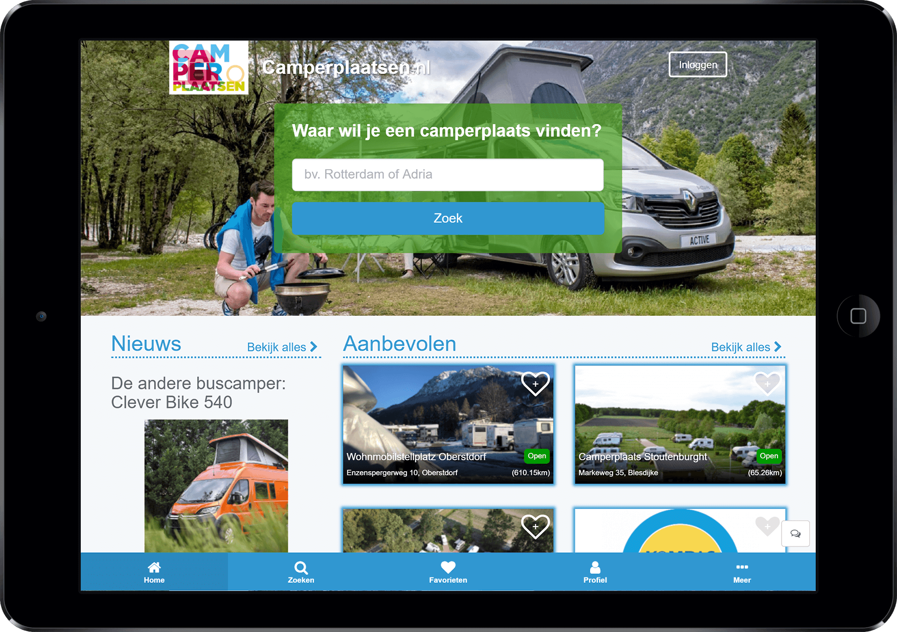 camperplaats app op tablet