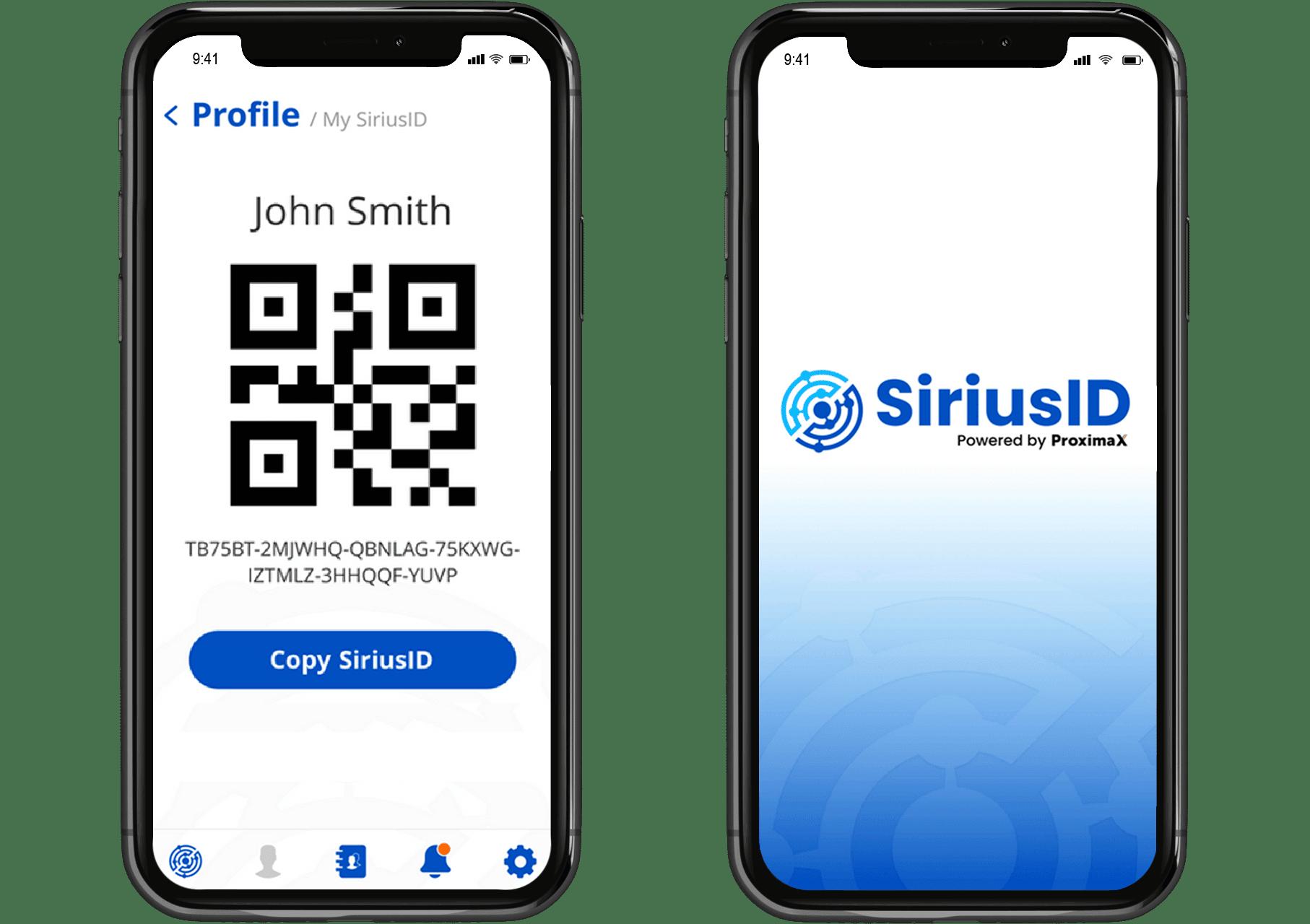 siriusID proximax blockchain app