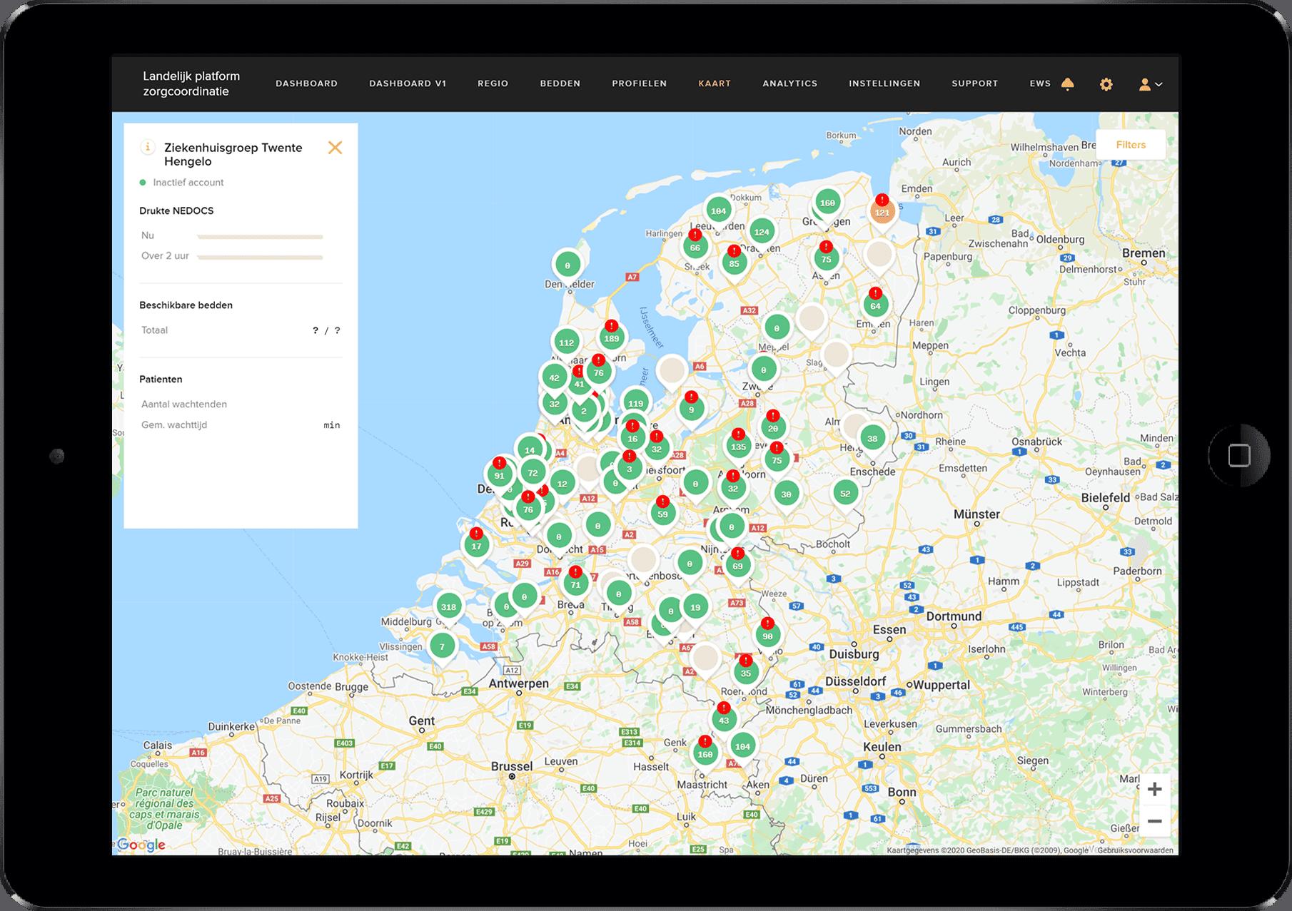 landelijk platform zorgcoordinatie locatie op de map